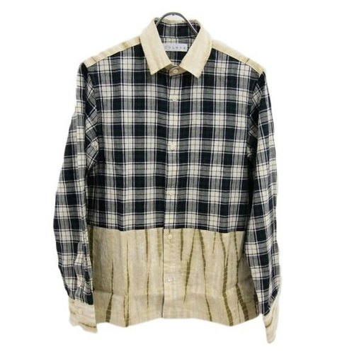 <Mサイズ> Unique check shirt Arimatsu Men's shirt beige by Tsumugirabo using the diaphragm fabric
