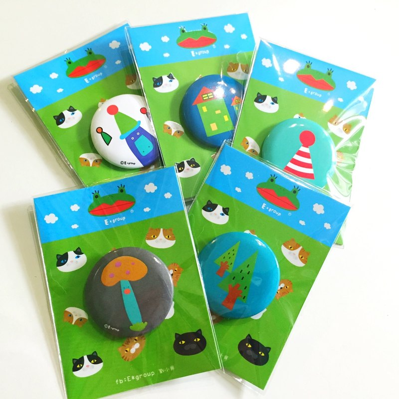 E * group platypus badges (small) 3.2cm (badge pin) mushroom tree frog cat house