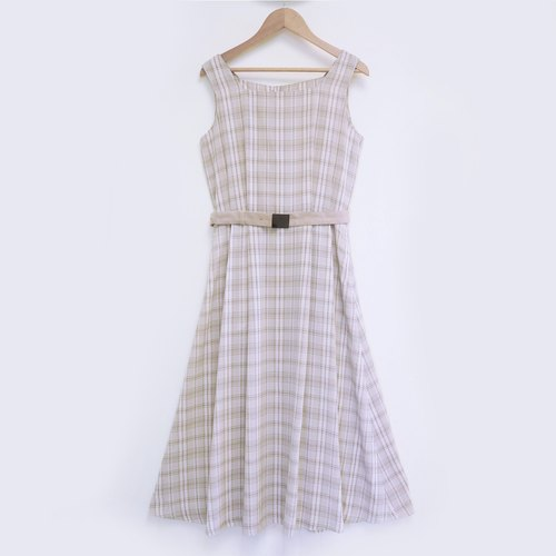 Elegant women's semi-apricot tone plaid square collar long dress