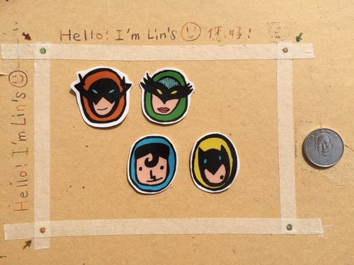 """Superman has four"" four small sticker set"