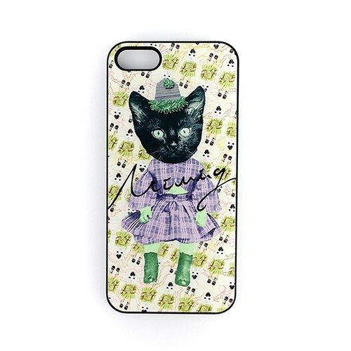 Vintage Collage kitty series iphone 4 / 4s / 5 / 5s / 6 / 6P / 6s / 6Ps small black cat person subsection