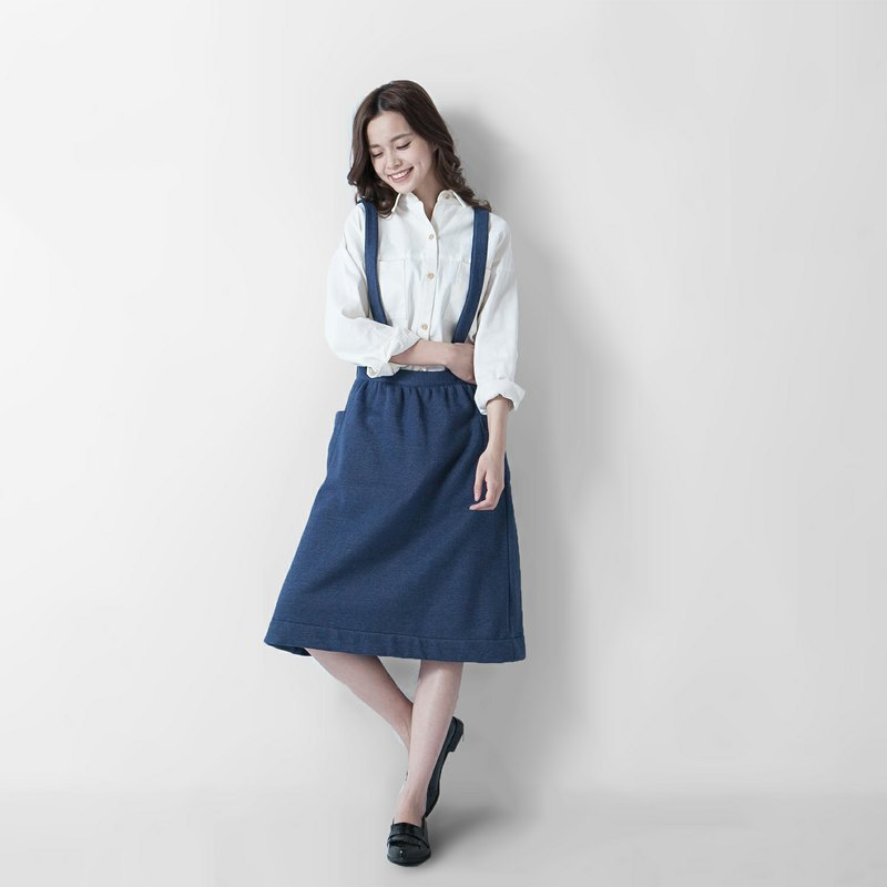 SU: MI said hand-made series _ warm dark blue suspenders aprons ◆ 3AF110_