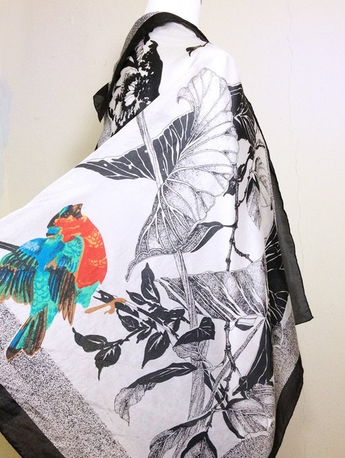 Vintage time [Ink light antique shawls scarves birds] abroad antique shawl scarf back VINTAGE