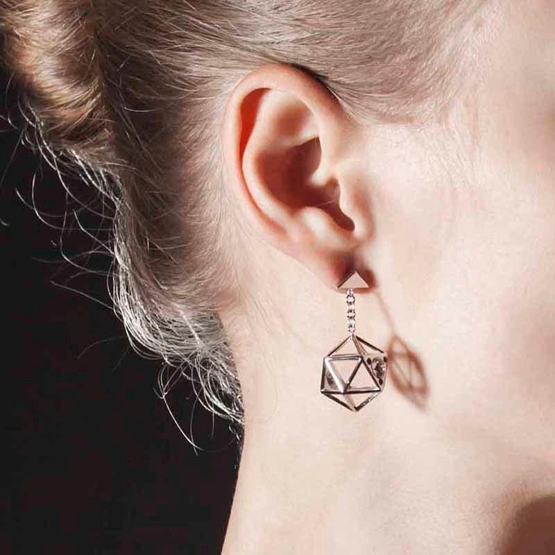 Icosahedron 925純銀耳環 銀色/黑色 BM6E