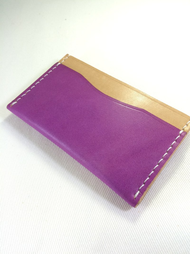 Rever Leather Italian leather hand-stitched leather-color card sets of leather card holder split colors purple package engraved name three card slots can be used for a short clip with