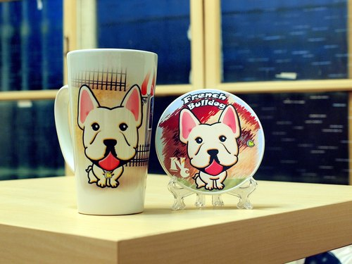 """NONCOOL. Cool farming ""new * French Bulldog. Temperament latte cup (beveled) - coaster combination"