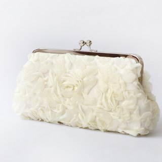 Handmade Clutch Bag in Ivory Chiffon | Gift for Bridal, Bridesmaids, Mom, Holiday Gift | Rose Floral Lace