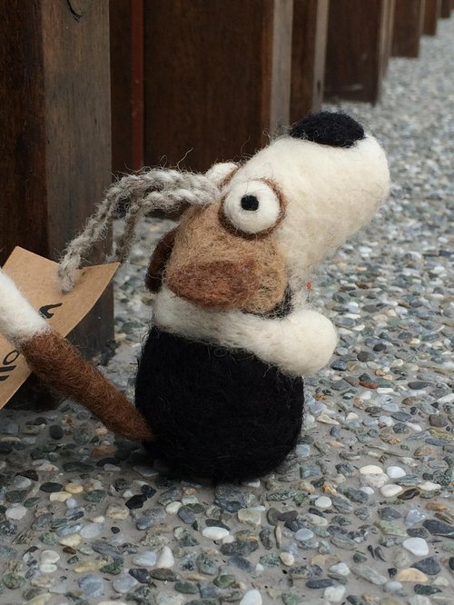 Woolbuddy - Handmade Small Dog (Brown/Dark Brown/White/Black)