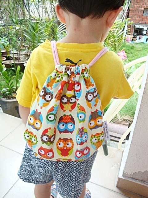 After the beam port backpack Drawstring Backsack rope pink color owl