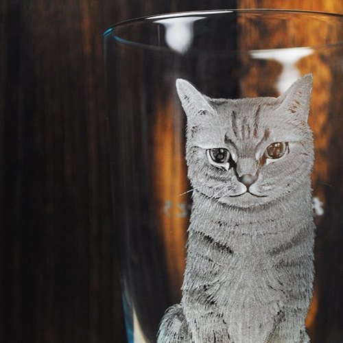 450cc [cat] MSA GLASS ENGRAVING realistic portraits cat pet Italian Bormioli Rocco glass cups carved lettering made your cat custom