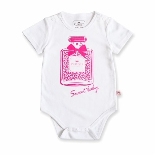 PUREST baby collection Leopard perfume MIT infant / baby / short sleeve package fart clothing / jumpsuit [100% made in Taiwan ‧100% cotton white models]