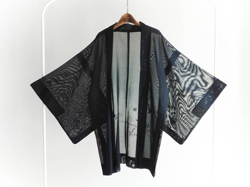 River Hill - Zong Tian family through black feather embroidery woven antique Japanese kimono jacket vintage