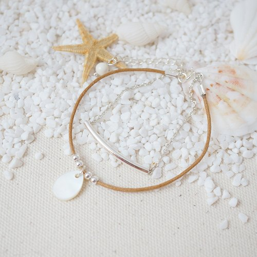 [Cami Handicraft] Summertime Sterling Silver Bracelet - Light Tan