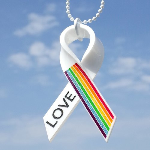 Hand-made acrylic Rainbow Ribbon Charm LOVE