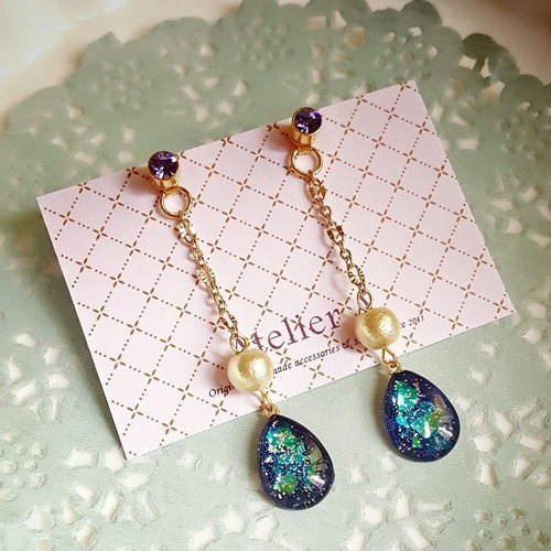 [Atelier A.] star. Pearl drop earrings cotton empty