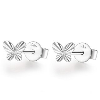Hong Kong Design 14K / 585 white gold net gold butterfly earrings