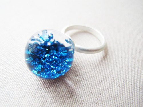 * Rosy Garden * ocean deep blue sequins glass ball ring
