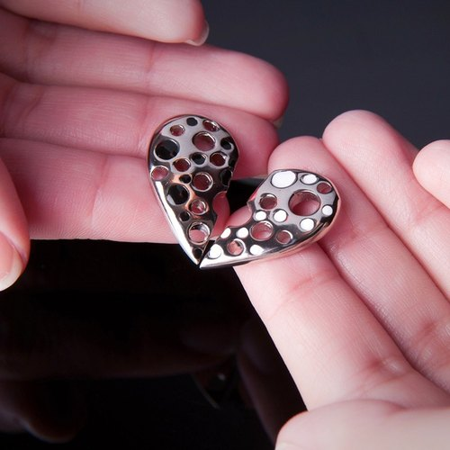 Broken Heart Stud Earrings, Half Heart Earrings, Half Love Earrings, Heart broken in half Earrings