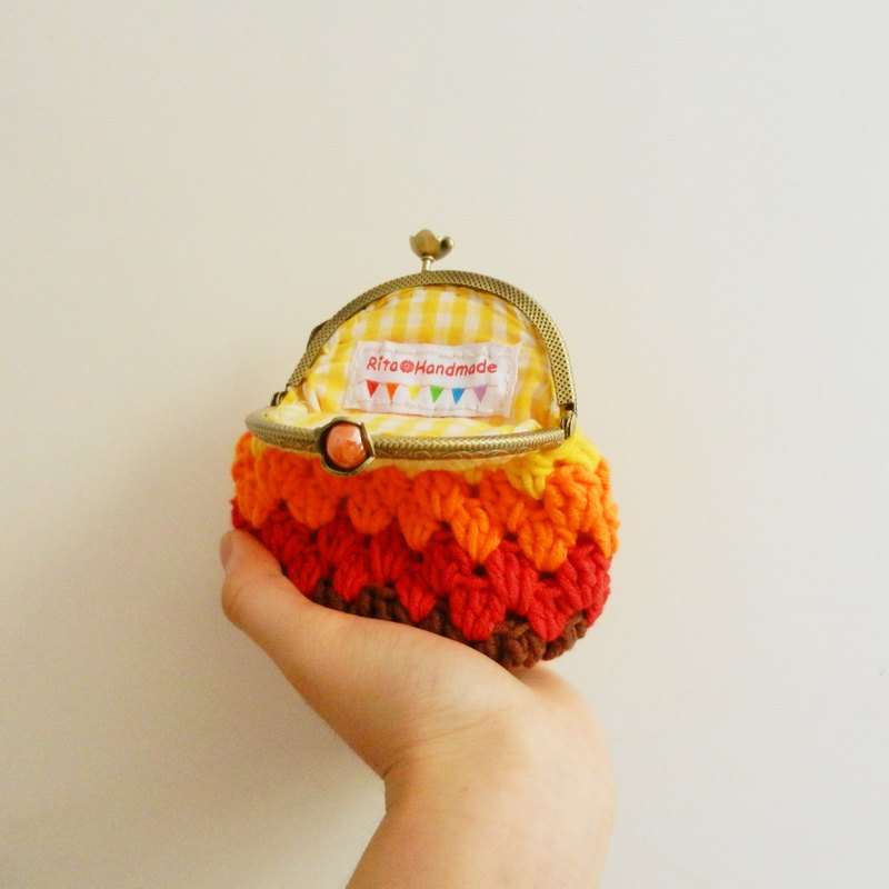 Original Crochet series rainbow crocheted purse mouth gold package
