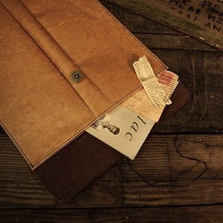 [ADOLE] antique wax pattern cloth leather -A4 paper bags
