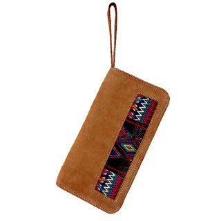 LEATHER & MAYAN EMBROIDERY TRAVELER CASE