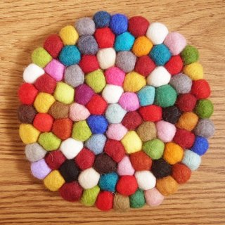 Potholder, Trivet, Pan Coaster, Pot holder, Felt ball Trivet Round_20cm_Rainbow