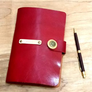7 inch leather notepad - Rose Red (custom label print name)