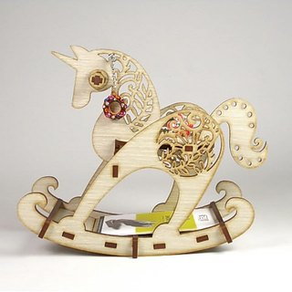 Rocking horse - jewelry frame business card holder. Design stationery.