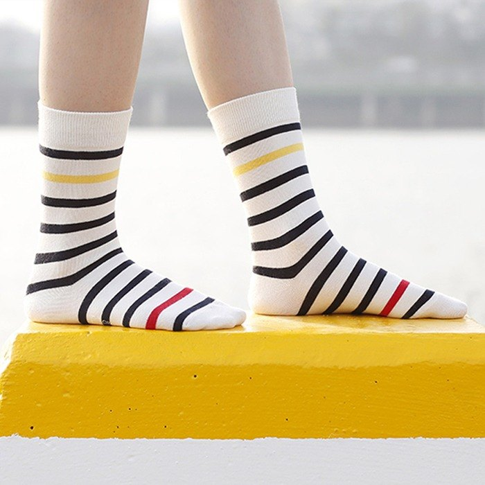 Organic Cotton Socks - Striped Verbena White and Black Striped Mid-Socks (Men/Female)