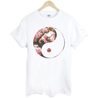 Ying Yang-Flower T-shirt - White Yin Yang Tai Chi Wen Qing took the galactic cosmic triangle fashion design own brand fashionable round