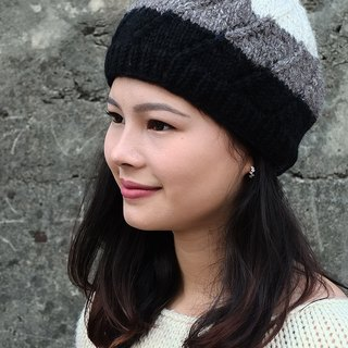 【Grooving the beats】Handmade Hand Knit Wool Beanie Hat(White+Grey+Black)
