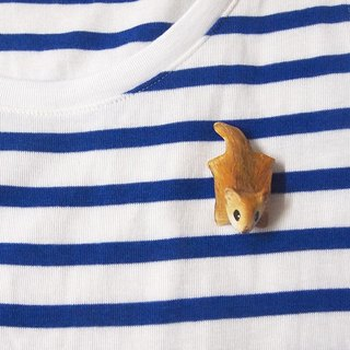 Flying squirrel handmade brooch