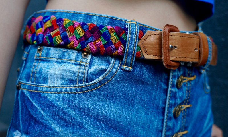 LEATHER & MAYAN HANDWOVEN RAINBOW COTTON BELT