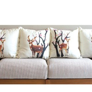 Taiwan Deer Pillow Four Pieces (Plum)