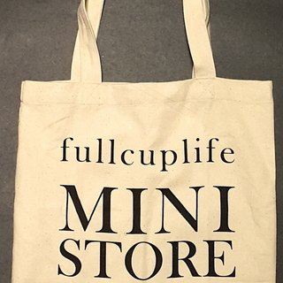Breathing life. fullcuplife MINI STORE - beige linen TOTE BAG