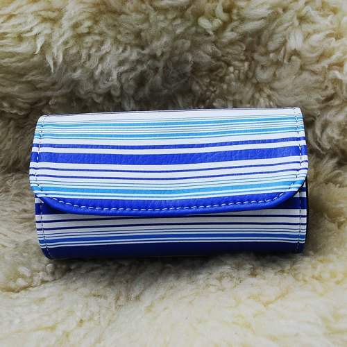 Silent stripes and blue patent sushi package purse (comes with subsection wrist band)