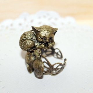 Dream cat puccy cat cat retro copper ring