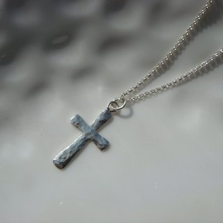minimalism. Forging knock a small cross. Silver Necklace