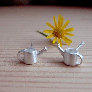 Tiny  Watering Can--Sterling Silver--Cute Tiny Gardening Tools--Stud Earrings