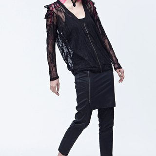 Double angle shoulder knit jacket (black)