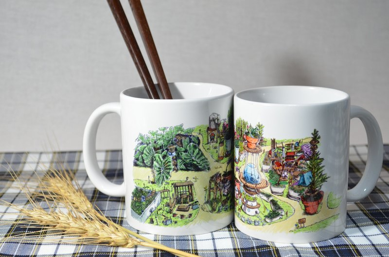 Lemon Village (Color) - hand drawn wind illustration mug