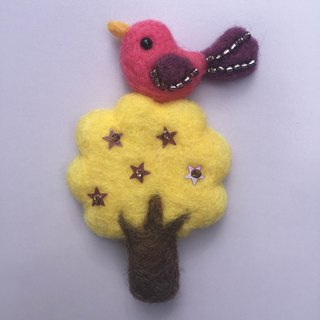 Bird tree - hand made wool felt brooch