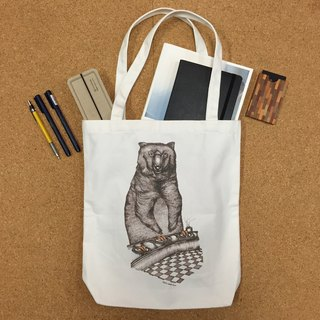 Bear and Japanese Salmon Sushi - artwork available in Canvas Tote Bag