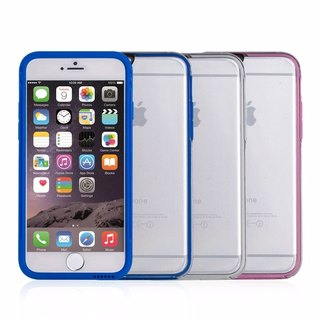SW Color Wear Color Border Transparent Back Cover for iPhone 6 - White / Blue / Pink