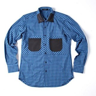 Stone'As Leather Plaid Shirt / leather stitching plaid Plaid Shirt