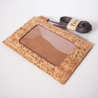 Paralife Custom Handmade Cork (Stripe Pattern) Badge card holder with Lanyard