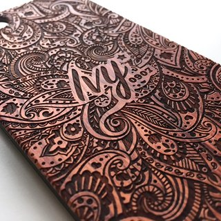 Real wood engraved iPhone SE / 6 / 6 Plus case Paisley