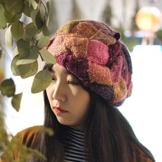 Araignee Design*Handmade wool cap - Braided Beret*- Ye Lu One / stitching color / Japanese style retro wind