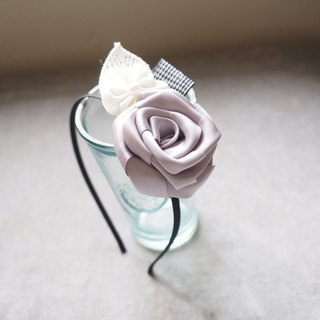 Handmade Hair Accessory with silver ribbon rose