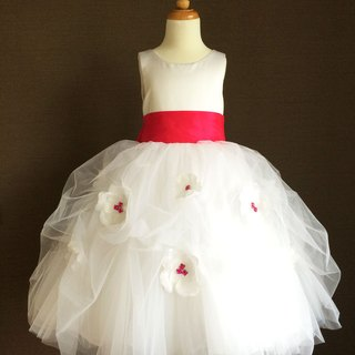 White Floral Ball Gown with Rose Red Sash